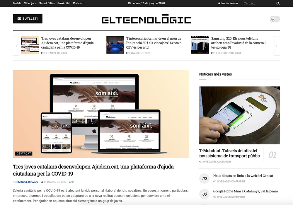 Screenshot of digital newspaper El Tecnològic with news articles