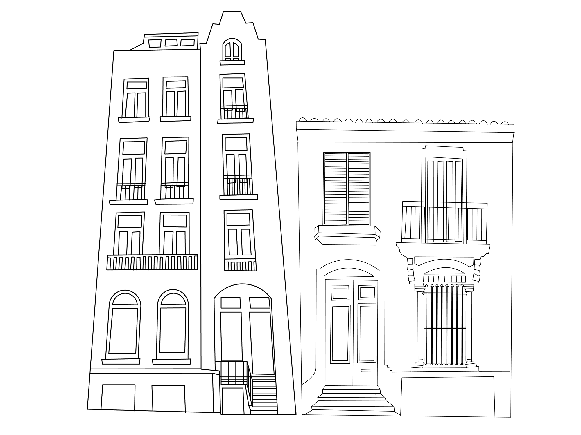 Two black house countours from Amsterdam and Barcelona with white background