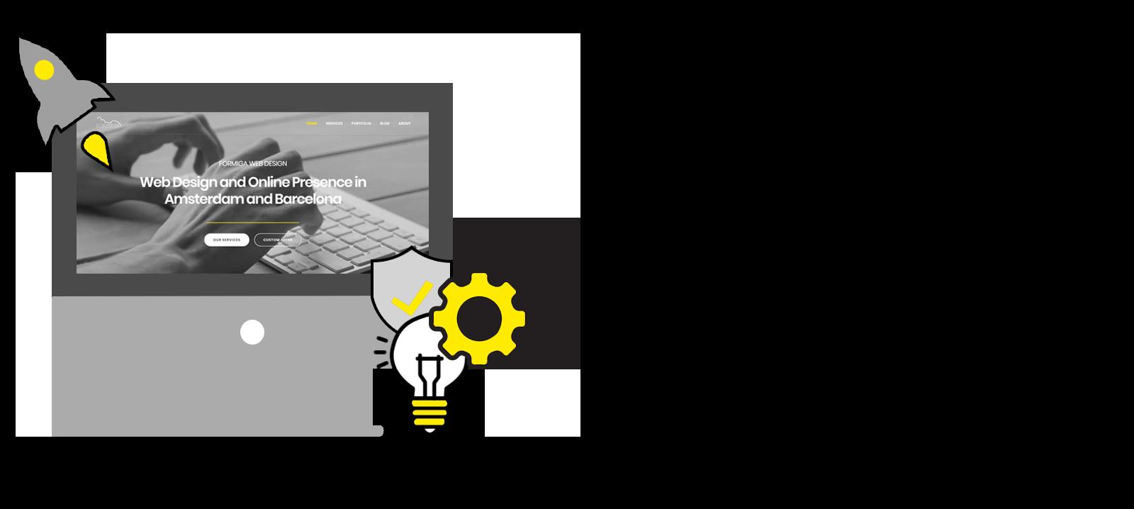 Desktop with maintenance icons Formiga Web Design